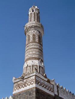 This finely decorated brick minaret is a part of Shibam's