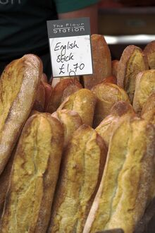 Fresh bread and pastries for sale in Borough Market