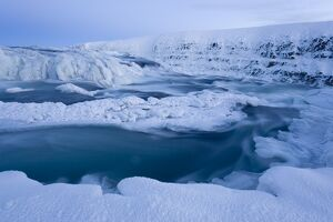 Frozen river and ice banks, Gullfoss, SW Iceland