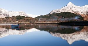 Glencoe village on Loch Leven, Glencoe, Scotland, UK