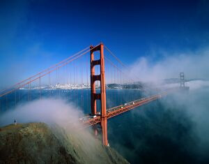 Golden Gate Bridge with Mist & Fog, San Francisco, California, USA
