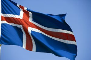 Iceland, the countries distinctive flag show its colours