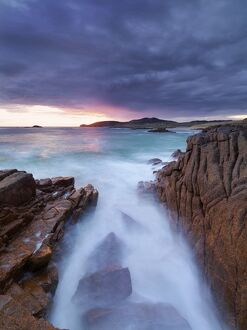Ireland, Co.Donegal, Cruit island at sunset