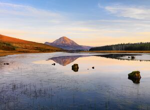 Ireland, Co.Donegal, Mount Errigal reflected in Clady river