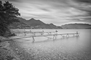 Italy, Lombardy, Lecco district. Como Lake, Dervio. Stations for fishing the agone fish