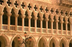 Italy, Veneto, Venice; Arches on the Palazzo Ducale, one of the main icons of Venice