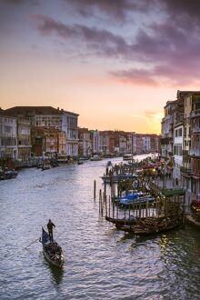 Italy, Veneto, Venice. Grand canal at sunset from Rialto bridge