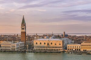 Italy, Veneto, Venice. High angle view of the city at sunset