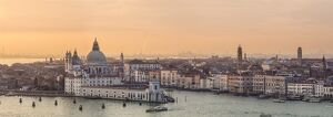 Italy, Veneto, Venice. High angle view of Santa Maria della Salute church at sunset