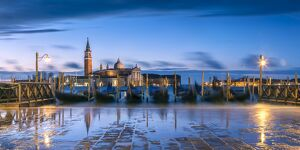Italy, Veneto, Venice. High tide coming to Riva degli Schiavoni at dawn
