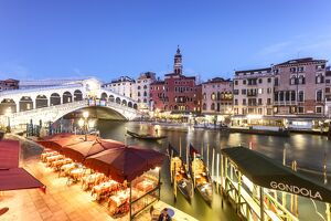 Italy, Veneto, Venice. Rialto bridge at dusk, high angle view