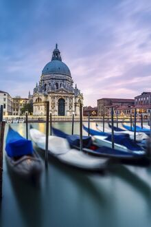 Italy, Veneto, Venice. Santa Maria della Salute church on the Grand Canal, at sunset