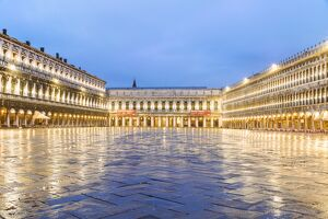Italy, Veneto, Venice. St Marks square illuminated before dawn