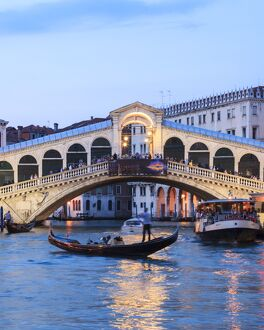 Italy, Venice. Grand canal and Rialto bridge
