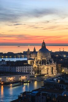 Italy, Venice, Santa Maria della salute church from the Campanile at sunset