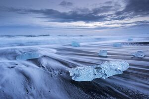 Jokulsarlon ice beach in Southern Iceland, Europe