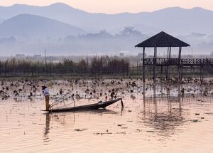 Leg-rowing fisherman of Inle Lake in the morning mist, Shan State, Myanmar