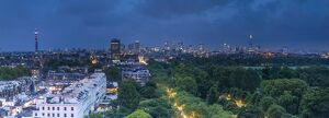London skyline above Hyde Park, London, England, UK