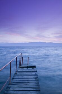 Macedonia, Ohrid, Lake Ohrid, Small Pier at Dusk