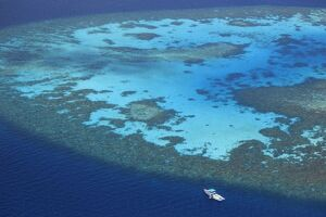 Maldives, South Ari Atoll, Aerial View of the chains of atolls