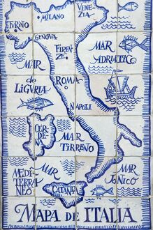 Map of Italy and the Mediterranean made out of ceramic tiles on a street in Seville