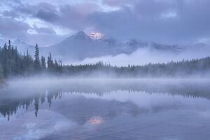 Misty morning in the Canadian Rockies, Herbert Lake, Banff National Park, Alberta, Canada