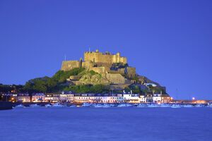 Mont Orgueil Castle and Gorey Harbour at Dusk, Gorey, Jersey, Channel Islands