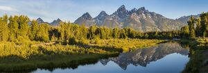 Mount Moran in Oxbow Bend of the Snake River in Grand Teton National Park, Wyoming, USA