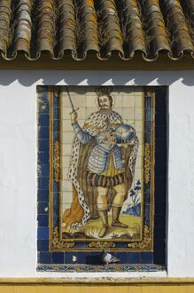 Mural of one of the historic Spanish kings made from