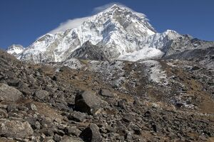 Nepal, Everest Region, Khumbu Valley. Mount Everest view from the edge of lateral