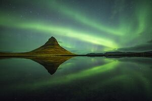 Northern lights above Kirkjufell Mountain, Snaefellsnes peninsula, Western Iceland