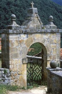 An ornate Church gate in the small village of Luriezo in the Liebana Valley