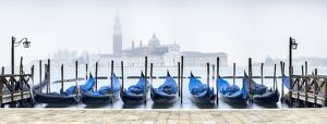 Panoramic view of San Giorgio Maggiore with gondola in the foreground, Venice, Italy