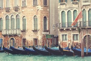 Parked gondolas along the Grand Canal of Venice, Veneto, Venice district, Italy