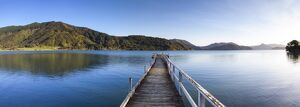 Picturesque wharf in the idyllic Kenepuru Sound, Marlborough Sounds, South Island