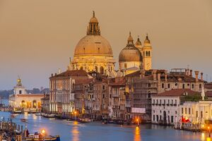 Santa Maria della Salute church and Grand Canal at sunset, Venice, Veneto, Italy