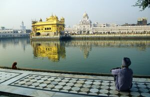 A Sikh pilgrim pauses for reflection by Amrit Sarovar