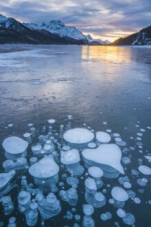 Silvaplana, Engadine valley, Switzerland. Frozen bubbles in the Lake Silvaplana