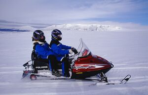 Skidoo crossing the Langjokull Icecap