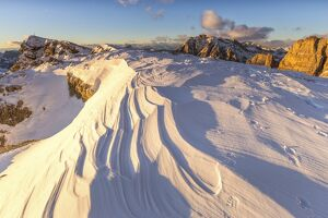 Snow waves between rocks,Mount Lagazuoi,Cortina d'Ampezzo,Belluno district,Veneto