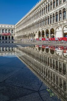 St. Mark's square reflected in a puddle, Venice, Veneto, Italy