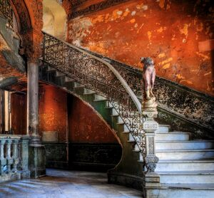 Staircase in the old building/ entrance to La Guarida restaurant, Havana, Cuba, Caribbean