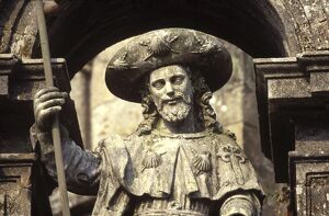 Statue of St James at the Cathedral of Santiago in Santiago de Compostela.