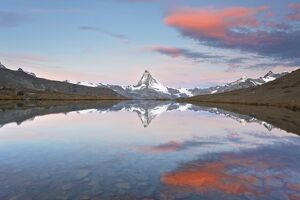 Switzerland, Valais, Matterhorn, Beautiful Morning Light and reflection at Stellisee Lake