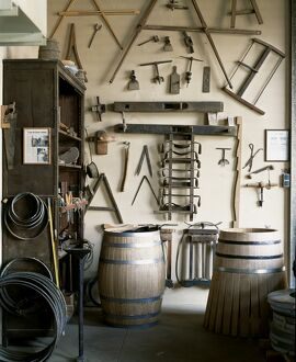 Tools for making wine barrels in the cooper's workshop at Muga winery