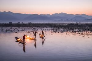 Traditional Intha fisherman, Inle Lake, Shan State, Burma, (MR)