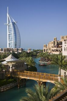 UAE, Dubai, Burj al Arab Hotel from the Madinat Jumeirah Complex
