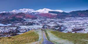 UK, England, Cumbria, Lake District, footpath overlooking Keswick from Latrigg