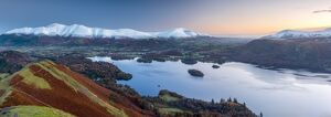 UK, England, Cumbria, Lake District, Derwentwater, Skiddaw and Blencathra mountains