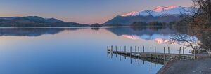 UK, England, Cumbria, Lake District, Keswick, Derwentwater, Ashness Jetty, Skiddaw